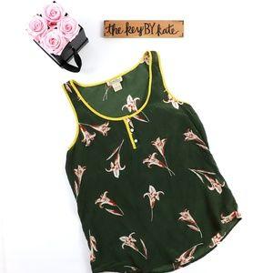 Lucky Brand Patterned Silk Sleeveless Top